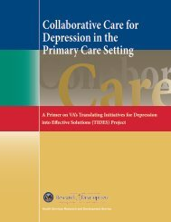 Collaborative Care for Depression in the Primary Care ... - HSR&D