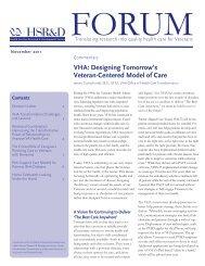 VHA: Designing Tomorrow's Veteran-Centered Model of Care - HSR&D