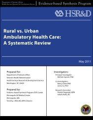 Rural vs. Urban Ambulatory Health Care Review - HSR&D