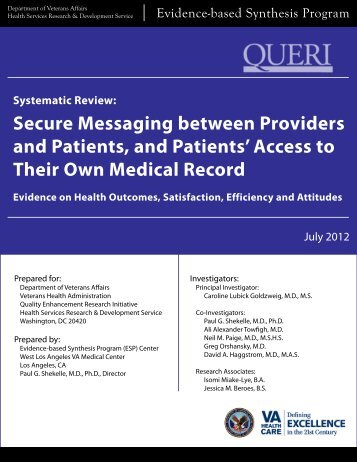 Secure Messaging between Providers and Patients, and Patients ...