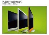 Investor Presentation. September 2012. - Loewe AG
