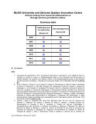 List of Publications and Acknowledgements 2006-2012 - McGill ...