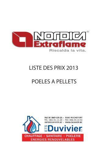 LISTE DES PRIX 2013 POELES A PELLETS