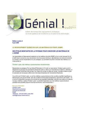le regroupement québécois sur les matériaux de pointe (rqmp)