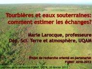 Tourbières et eaux souterraines : comment mesurer les échanges?