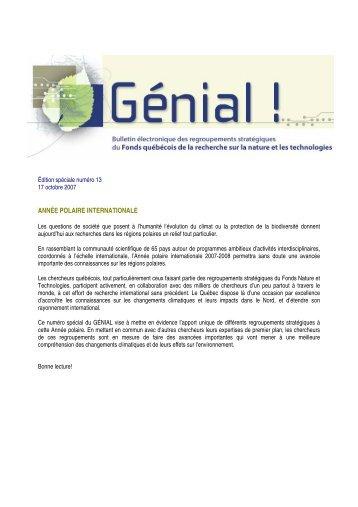année polaire internationale - Fonds québécois de la recherche sur ...