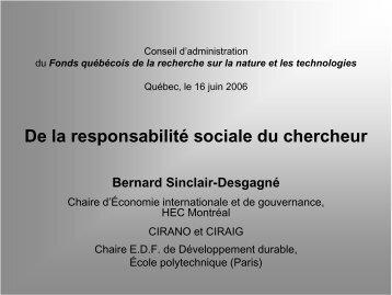 CIRANO et CIRAIG - Fonds québécois de la recherche sur la nature ...