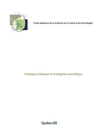 Politique d'éthique et d'intégrité scientifique - Fonds québécois de la ...