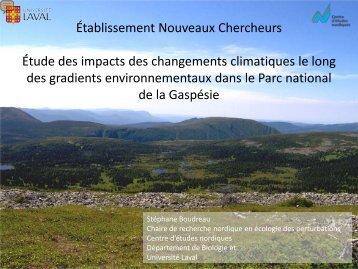 Étude des impacts des changements climatiques le long des ...