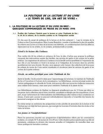 LA POLITIQUE DE LA LECTURE ET DU LIVRE Â« LE TEMPS DE ...