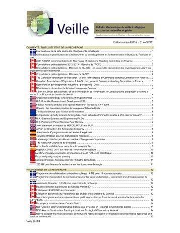 31 août 2011 - Fonds québécois de la recherche sur la nature et les ...