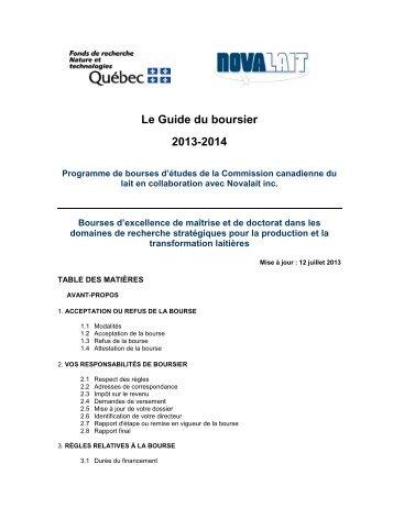 Le Guide du boursier 2013-2014 - Fonds québécois de la recherche ...