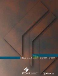 Rapport annuel2000–2001 - Fonds québécois de la recherche sur ...