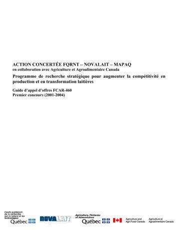 action concertée fqrnt – novalait – mapaq - Fonds québécois de la ...