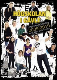 Utbildningskatalog 2009/2010 program och kurser - Högskolan i Gävle