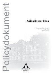 Antagningsordning - Högskolan i Gävle