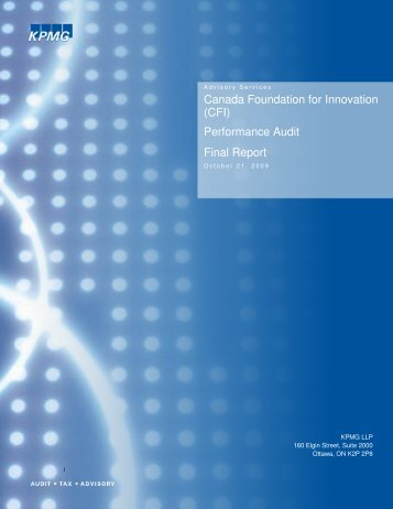Canada Foundation for Innovation (CFI) - Performance Audit - Final ...