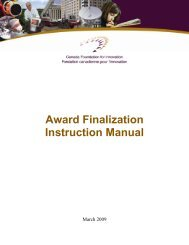 Award Finalization Instruction Manual - Canada Foundation for ...