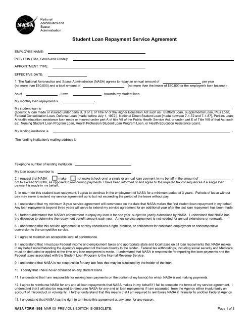 Student Loan Repayment Service Agreement - Nasa