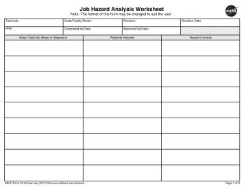 Job Hazard Analysis Worksheet - Nasa