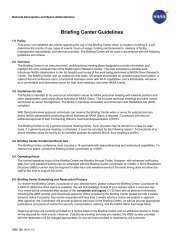 Briefing Center Guidelines - Nasa