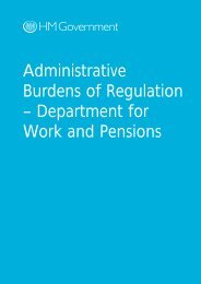Administrative Burdens of Regulation – Department for Work and ...