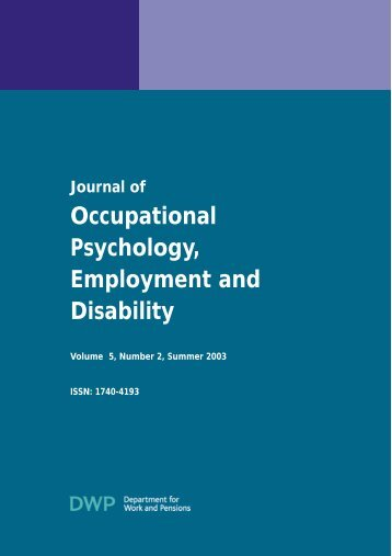 Journal of Occupational Psychology, Employment and Disability