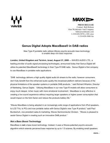 Genus Digital DAB Radio Adopts MaxxBass