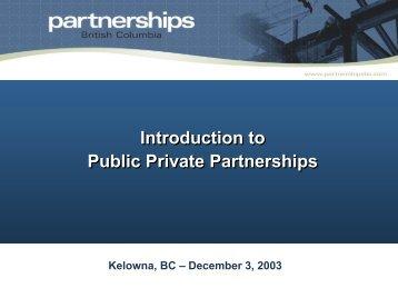 P3s in BC - Partnerships British Columbia