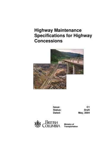 Highway Maintenance Specifications For Highway Concessions
