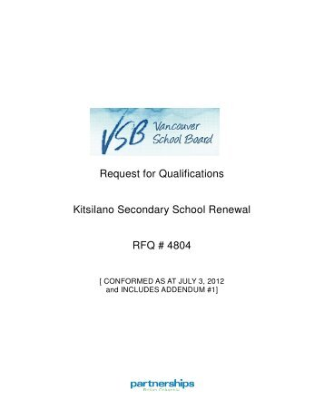Request for Qualifications Kitsilano Secondary School Renewal ...