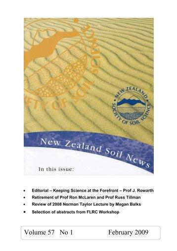 Volume 57 No 1 February 2009 - New Zealand Society of Soil Science