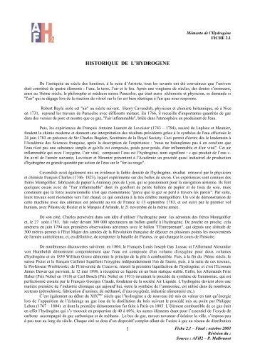 1 historique de l'hydrogene - Association française de l'hydrogène