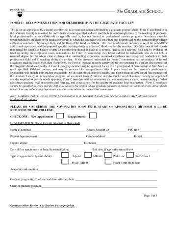 FORM C: RECOMMENDATION FOR MEMBERSHIP IN THE ...