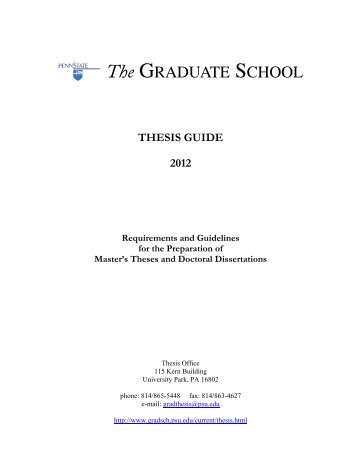 Thesis Guide 2012: Requirements and Guidelines ... - the list of offices