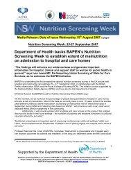 Nutrition Screening Week – 1st announcement - Bapen