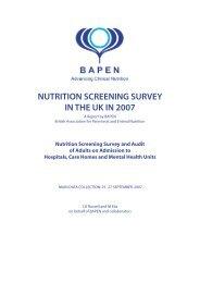 NUTRITION SCREENING SURVEY IN THE UK IN 2007 - BAPEN