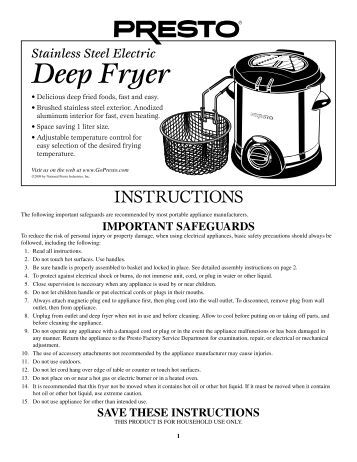ge cool touch deep fryer manual
