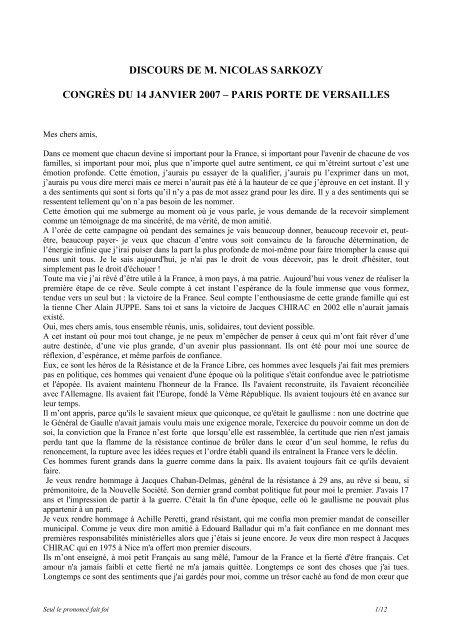 Projet de discours pour le congrés du 14 janvier 2007 - Le Monde