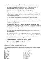 Wichtige Hinweise zum Antrag auf Zuschuss für die Anlage eines ...