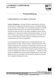 Pressemitteilung Jagdbeirat - Jägerschaft Cloppenburg