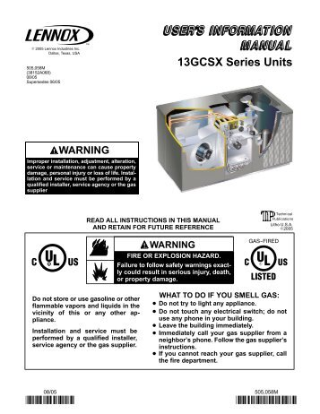 Lennox Gcs16 manual