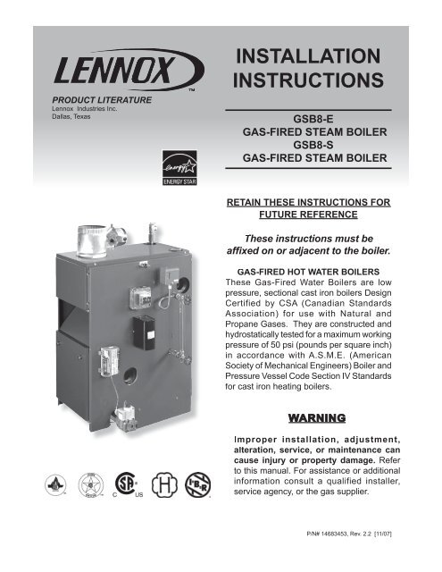 Gsb8 E Gas Fired Steam Boiler Gsb8 S Lennox