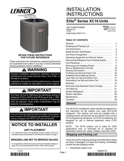 lennox air conditioner wiring diagram xc16 air conditioner installation manual lennox  xc16 air conditioner installation