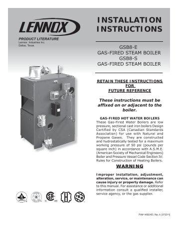 GWM-IE Boiler Installation Manual - Lennox