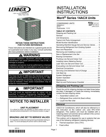 lennox merit 14acx. 14acx air conditioner installation manual - lennox merit 14acx a