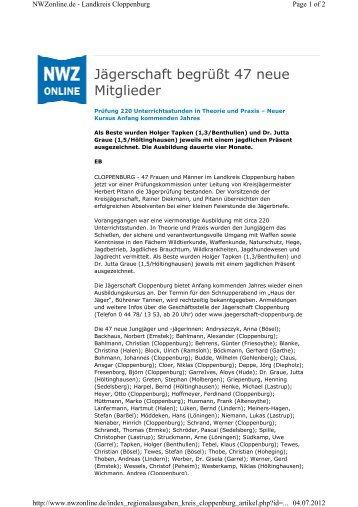 Jägerschaft begrüßt 47 neue Mitglieder - Jägerschaft Cloppenburg
