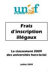 UNEF - Dossier frais d'inscription illégaux 2009 - Le Monde