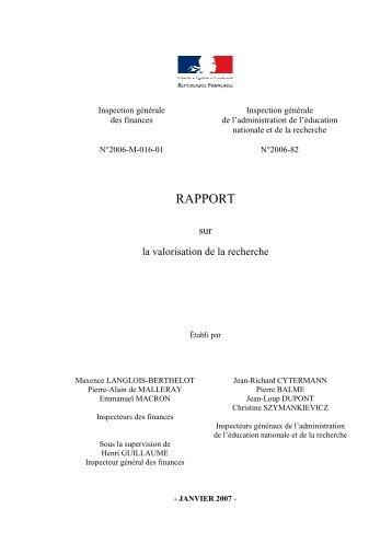 RAPPORT Valorisation de la Recherche - Inspection Générale des ...