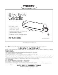 Presto ® 22-inch Electric Griddle Instruction Manual